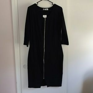 Black bodycon zipper dress